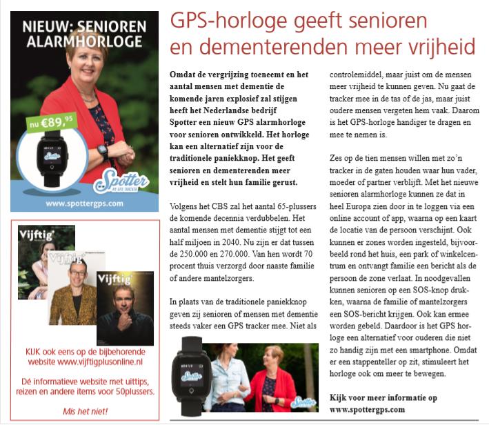 Vijftig plus magazine GPS horloge geeft senioren en dementerenden meer vrijheid