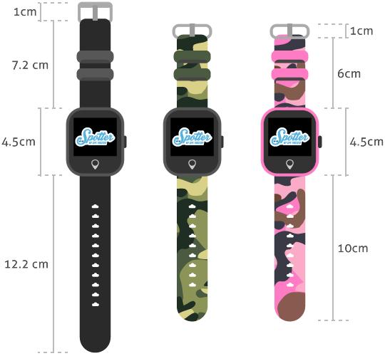 GPS Horloge Kind - afmetingen