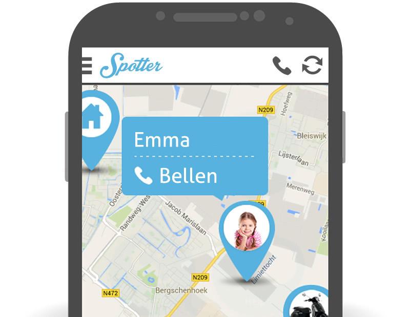 Kind volgen via app en gps - Spotter telefoon